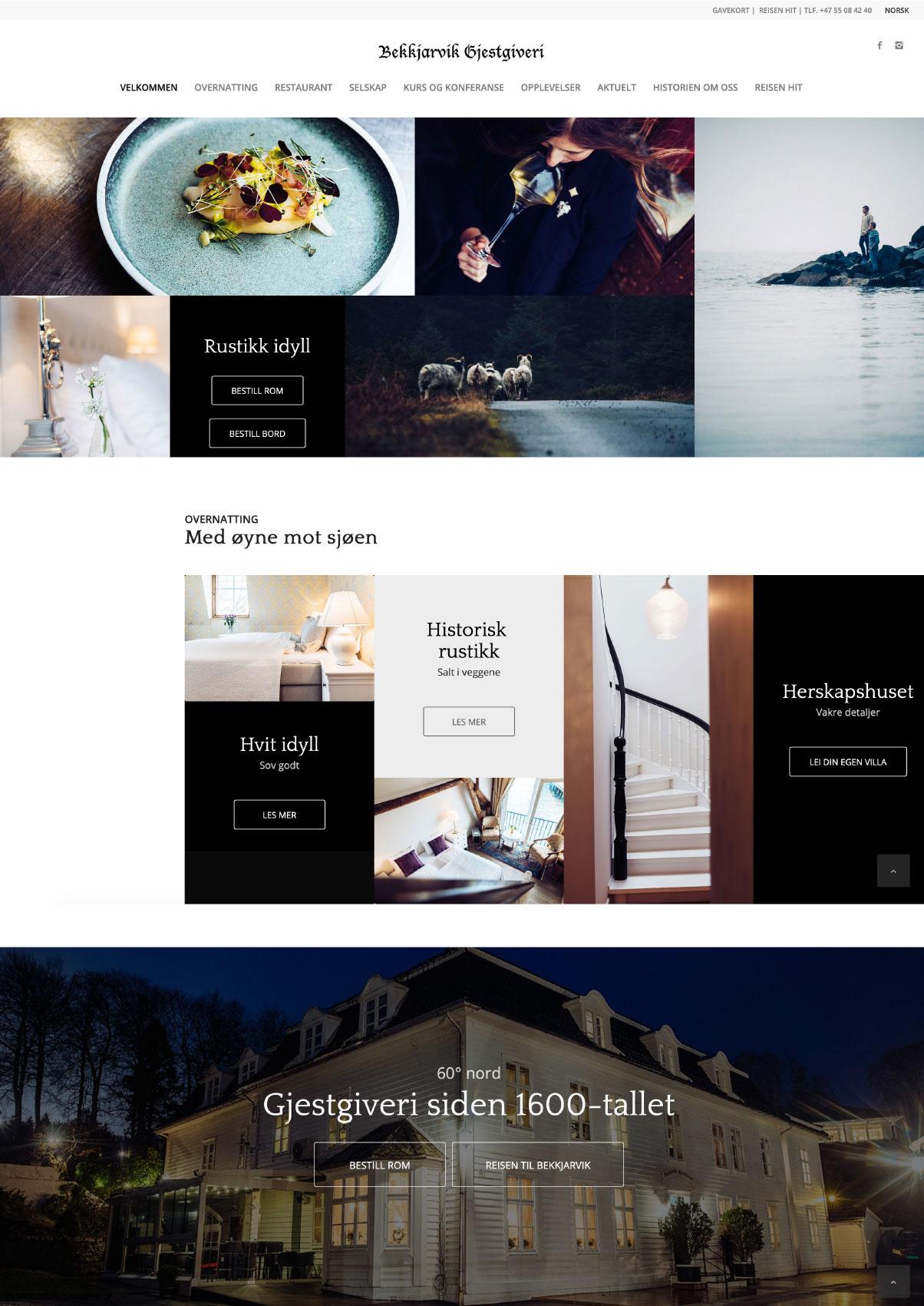 Design av Bekkjarvik Gjestgiveri nettside